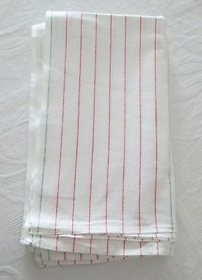 Vintage 7 Linen Kitchen Towels Red & Green Pin Stripies Unused?
