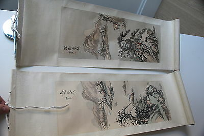 Antique Vintage Japanese Hanging Scroll Art Signed Hand Painted Autumn Winter VG