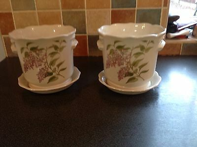 Pair Of Royal Winton Planters With Floral Pattern Inc Matching Bases