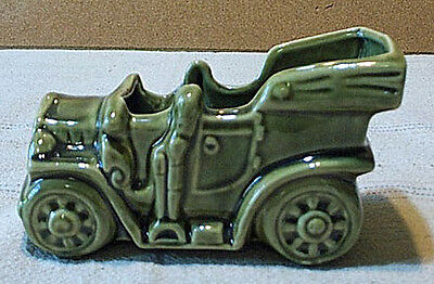 McCoy Pottery Green Antique Auto Planter Unmarked 1954