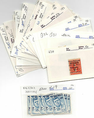 Guatemala Stamp Lot Dealers Lot On Show Cards
