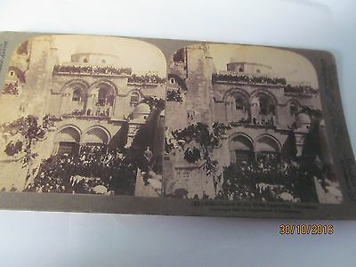 Antique Stereoview Church Of The Holy Sepulchre Jerusalem Dated 1897