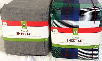 Brushed Flannel 4 Piece Sheet Set King  Gray Or Plaid