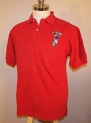 Acme Clothing Co Looney Toons Bugs Bunny Golf Polo Red Medium 100% Cotton