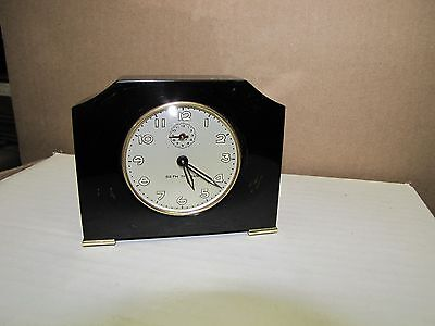 Rare Vintage Deco Bakelite Catalin Clock Seth Thomas 1931 in Black Orange Swirls