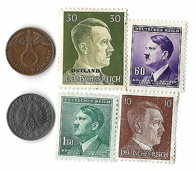 Rare Old Antique WWII WW2 Nazi Swastika Coin Stamp Adolf Hitler Collection Lot
