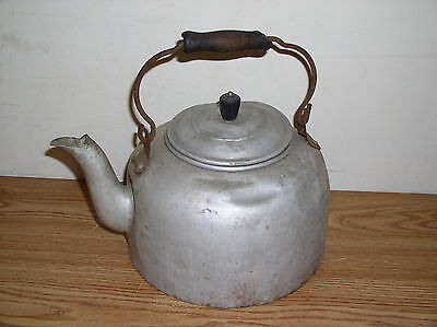 Old Vintage Metal Tea Kettle With Wire Handle