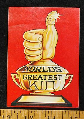[ 1977 LUCKY CHARMS Cereal - DOOR SIGN STICKER - World's Greatest Kid - RARE ]