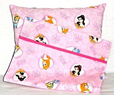 Princess Heads Toddler Pillow and Pillowcase on Pink Cotton 17-29 New Handmade