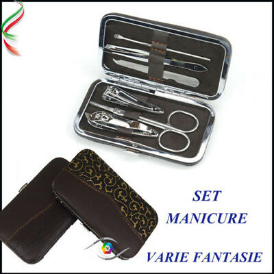 SET KIT MANICURE UNGHIE MANI PEDICURE DA BORSA VIAGGIO 7pcs Nail Care Clippers