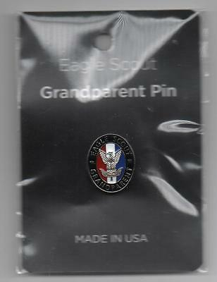 BSA Eagle Scout Grandparent Pin, Silver-Toned Oval w/ Painted Enamel Background