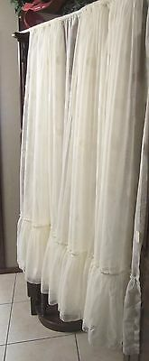 Vintage German White Lace Polka Dot Curtain 235  X  62  with 14 inch Ruffle
