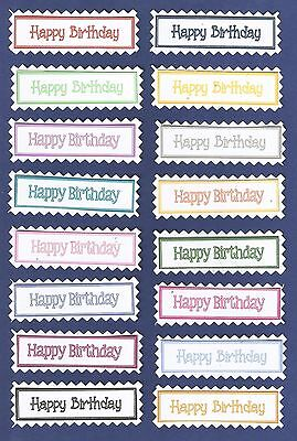 16 Happy Birthday Sentiment Message Banners Tags Greeting Card Craft Great Value