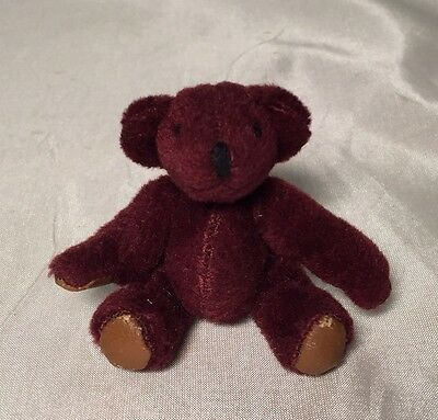Rare Miniature Burgundy Jointed Dollhouse Teddy Bear Plush Leather Pads GUC