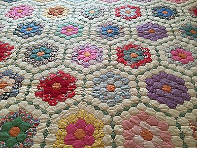 Antique Vintage GRANDMOTHERS FLOWER GARDEN Quilt ~ Beautiful!