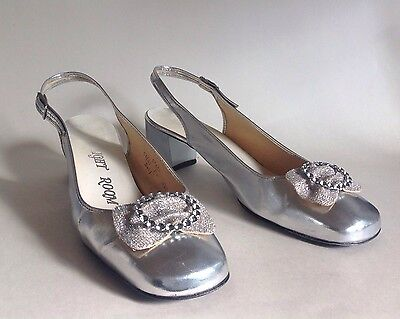 Starlight Room Silver 1960s Vintage Shoes GoGo Mod Party Evening UK 6.5 EU 39.5