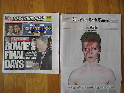 David Bowie death NEW YORK TIMES & POST 2 newspapers my NY 12 January 2016 dead
