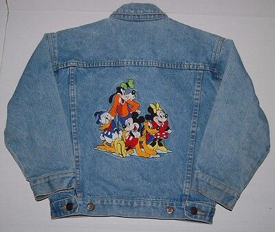 The DISNEY STORE Mickey Mouse & Gang Embroidered Denim Kids Childs Jean Jacket