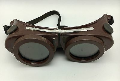 Vintage Steampunk Brown Welder Goggle Green Lenses Welding Motorcycle
