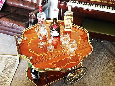 Sorrento Drop Leaf Cocktail Trolley 1960s with inlaid wood and brass features