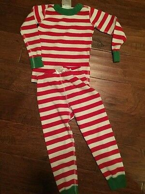 Hanna Andersson boys girls Red White Green Stripe pajamas 3t Christmas holiday