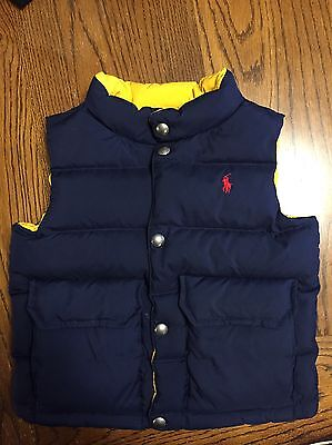 Polo Ralph Lauren Boys 3 3T Down Filled Reversible Puffer Vest Blue Yellow $108