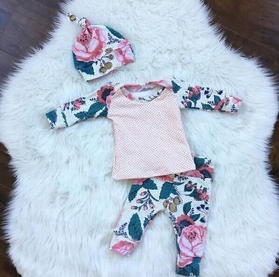 Infant Newborn Baby Girl Long Sleeve Tops +Long Pants Hat Floral Outfits Clothes