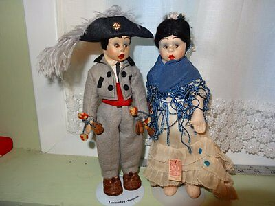 Antique Spanish Nati Felt Dolls,  Mascotte Size, Lenci Type, Minty