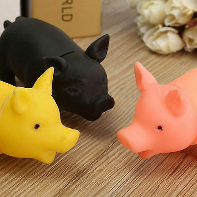 U Rubber Pet Dog Puppy Pig Shape Chew Fetch Play Toy Squeaker Squeaky With Sound