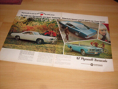 1967 Plymouth Barracuda 2 Page- Vintage Advertisement Magazine Ad FREE SHIPPING