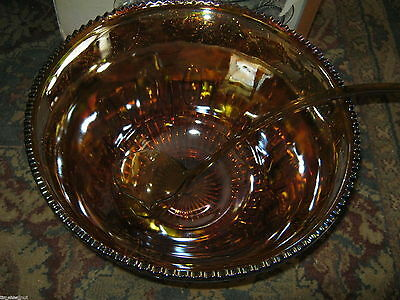 Vtg in Box Iridescent Gold INDIANA Carnival Glass GLASS Princess PUNCH BOWL SET