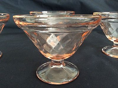 "VTG Vintage 4x Pink Sherbet Glasses 4"" Rim 3"" Tall Diamond Pattern"