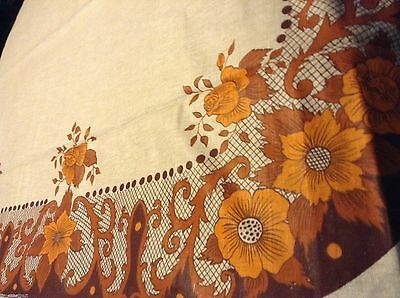 NWOT NOS Lovely LINEN TABLECLOTH 70x56 inch Roses & 5 Petal Flowers EARTH TONES