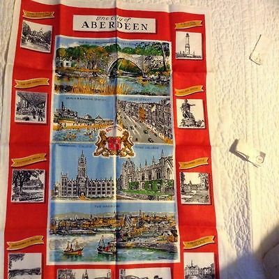 "NWOT OLD BLEACH Souvenir TEA TOWEL Scenes of ABERDEEN by J WILSON 31x21"" lovely"
