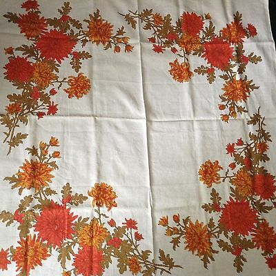 "NWOT Vintage LINEN TABLECLOTH 48 1/4"" sq.  LOVELY! FLOWERS!"