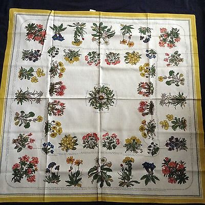 "NWOT Vintage LINEN TABLECLOTH Identifies Flowers 43x42"" LOVELY"