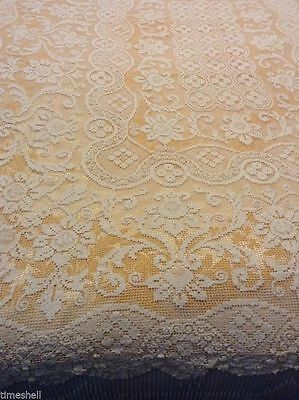 Spectacular Vintage NETTED TABLECLOTH 69x53 In Cotton Knotted Just Lovely