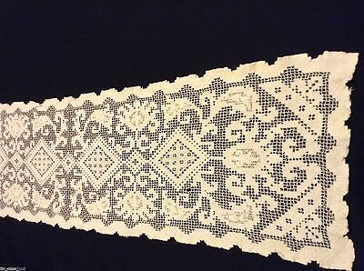 Vintage NETTED LACE DOILY TABLE RUNNER   35.5x9.5 in Lovely Pattern HAND MADE