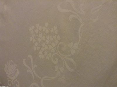 Vtg Double Damask IRISH LINEN TABLECLOTH Roses Shamrocks Flowers 88x73in LOVELY