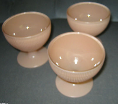 3 VERY NICE Fired On SAGUENAY CUSTARD DISHES Pink Canadian Depression Glass