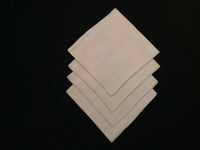 "4 Lovely DOUBLE DAMASK IRISH LINEN white NAPKINS 22x21"" MAPLE LEAVES Hand hemmed"