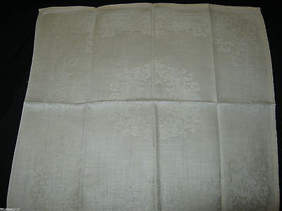 6 LOVELY Vintage DOUBLE DAMASK IRISH LINEN NAPKINS Floral 14.5X13 in Ivory