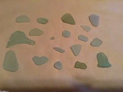 AQUA BLUE 15 pc LAKE ONTARIO Beach SEA GLASS for CRAFTS MOSAICS surf tumbled