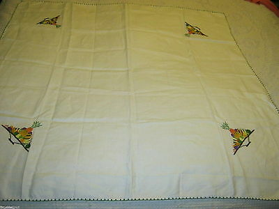 Lovely LINEN TABLECLOTH Hand Embroidered Fruit Bowl Pineapple etc  35X35in NWOT