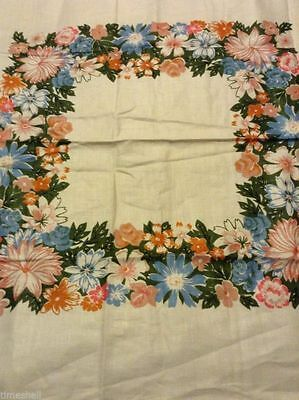Lovely LINEN TABLECLOTH TEACLOTH 35X36 in  Foral Motif  NWOT Roses Flowers
