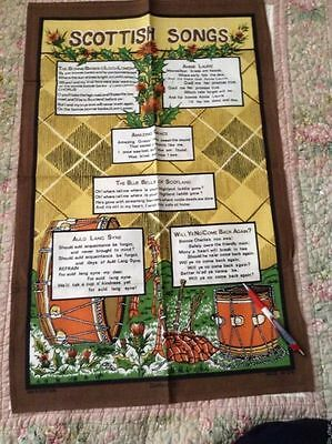 "Lovely Souvenir DUNLUCE TEA TOWEL SCOTTISH SONGS 29.75 x 18.75"" Unused COTTON"