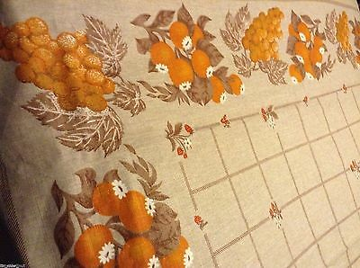"Nice NWOT NOS Lovely LINEN TABLECLOTH 67x56"" Fruit EARTH TONES ORANGE RED"