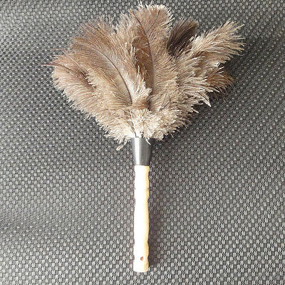 Natural Ostrich Feather Brush Duster Wood Handle Anti-static White Home Clean