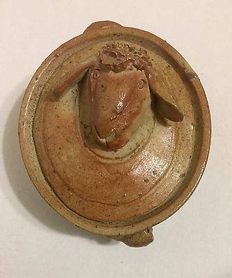 Small Covered Casserole Dish Pottery Clay Sheep Head Finial Handle France
