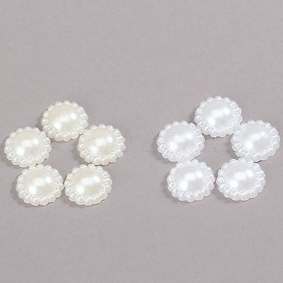 50PCS 2 Colour 13mm Flat Back Half Pearl Flower Beads Cards Scrapbook Handmade